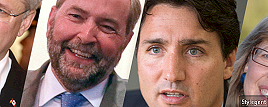 Harper, Christ Jackson / Getty Images. Mulcair, Andrew Francis Wallace / Τορόντο Αστέρι / Getty Images; Trudeau, Bernard Weil / Τορόντο Αστέρι / Getty Images; Μάιο, Κοινόχρηστα του Wikimedia.