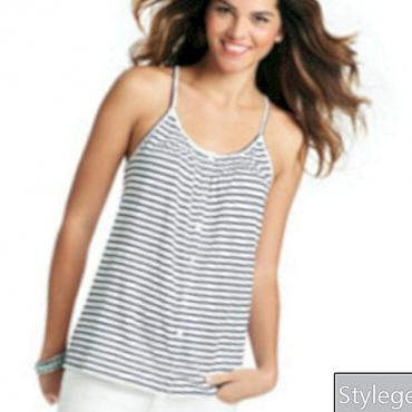 Stribet linned tank top til under $ 40